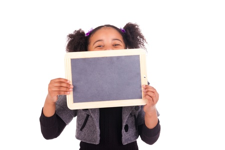 young African girl with a black slate Stock Photo - 18231326
