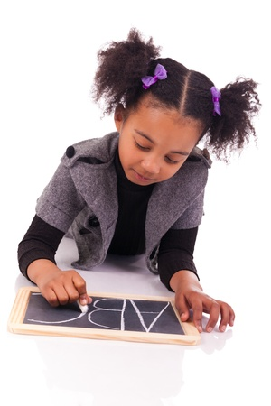 young African girl with a black slate Stock Photo - 18231336
