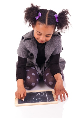 young African girl with a black slate photo