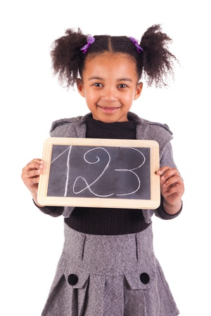 young African girl with a black slate Stock Photo - 18231347
