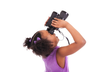 African little girl looking through binoculars isolated on a over white