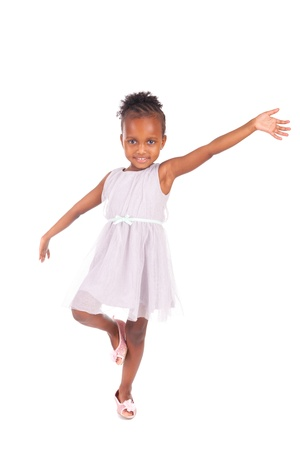 Adorable african little girl on white background
