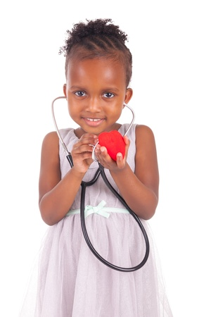 Adorable african little girl on white background photo