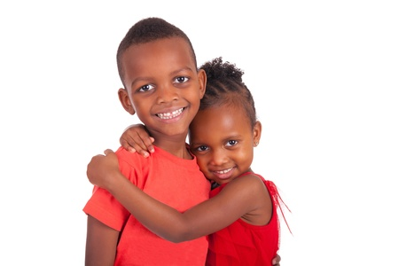 multiracial children: african american brother and sister together isolated