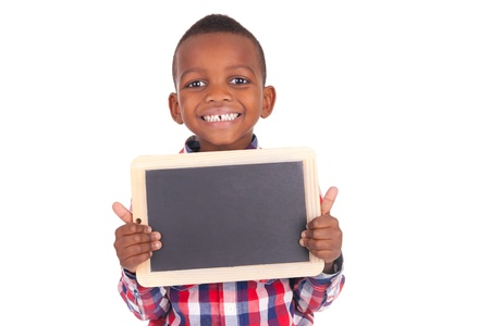 preteen boys: Adorable african little boy  with slate