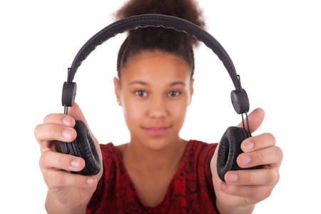 Afro-American young woman with headphone photo