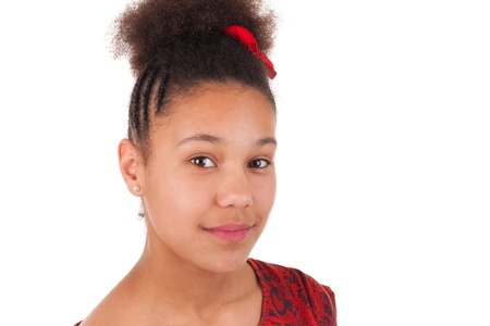 African children: Afro-American young woman with afro hair