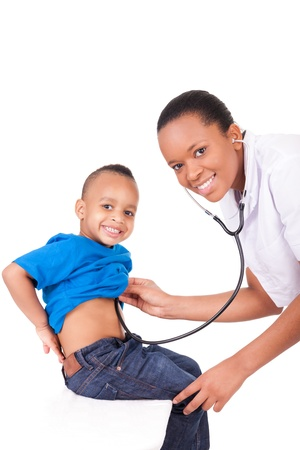 stethoscope boy: African american woman doctor with child isolated