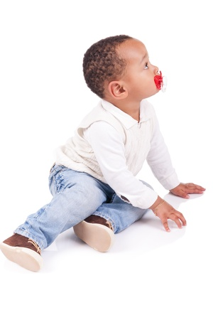 African children: Portrait of a cute black baby boy isolated