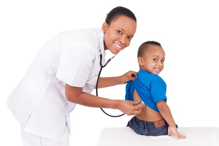 pediatric nurse: African american woman doctor with child isolated