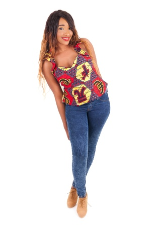 south american ethnicity: young beautiful African fashion model isolated Stock Photo