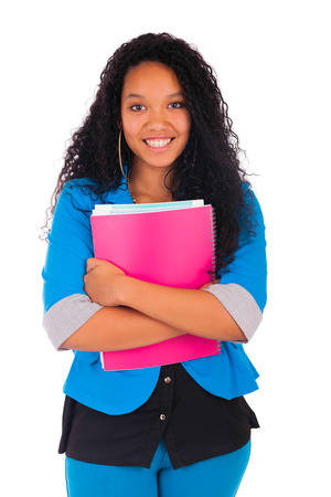 Portrait of smiling African American female student isolated photo
