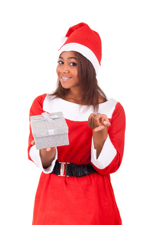 Young African American woman wearing a santa hat Stock Photo - 28288857