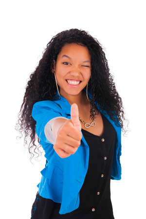 Thumbs up happy success for pretty young African American isolated photo