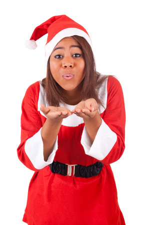 Young African American woman wearing a santa hat Stock Photo - 28288882
