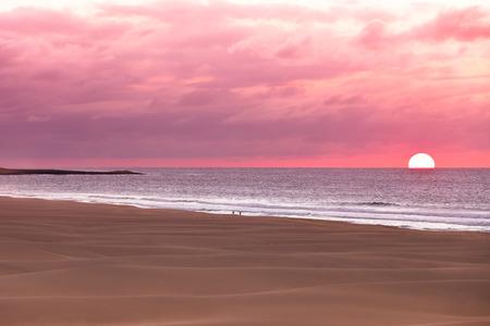 Sunset and sand dunes at beach Boavista, Cape Verde  - Cabo Verde Stock Photo