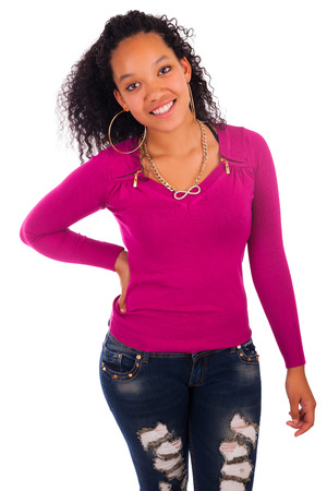 Young african american woman with long hair isolated Stock Photo