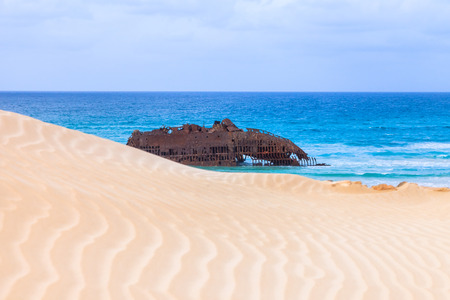 Wreck boat on the coast of boa vista in Cape Verde, Cabo Verde