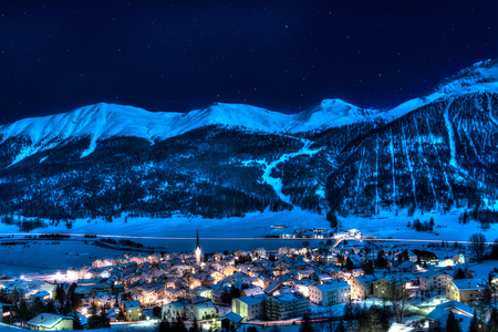 Zuoz - engadin - switzerland near St Moritz in a winter night