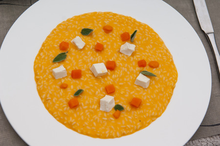 women s health: pumpkin risotto cheese Stock Photo