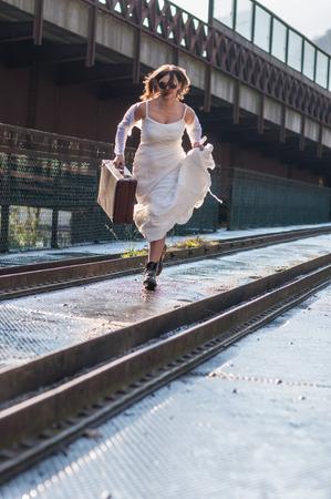 bride escaping photo