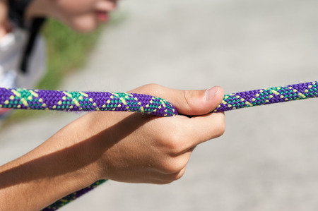 constraint: scrambled up rope for climbing