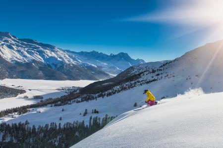 off piste: girl in off-piste skiing Stock Photo