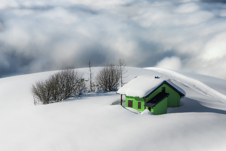 hermitage isolated in the snow