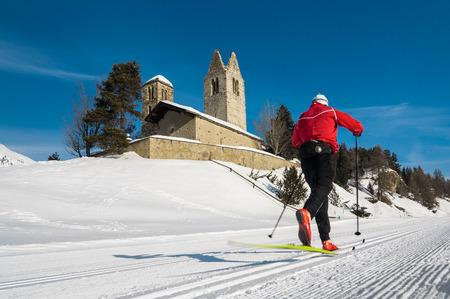 nordic ski: Nordic ski in the engadine valley Stock Photo