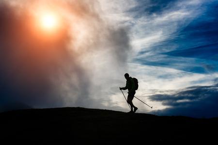 holiday maker: Silhouette trekking