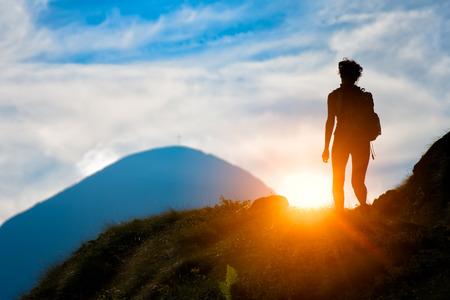 holiday maker: Trekking in silhouette Stock Photo