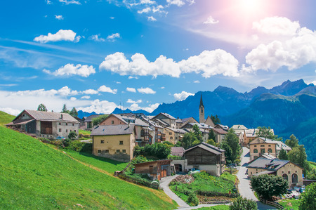 Village of Guarda, Switzerland Stock Photo