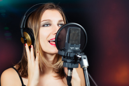 rock star in recording studio Stock Photo