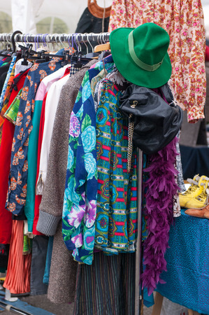 sell of clothes in a street market photo