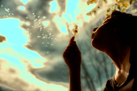 girl blows a flower in a summer day Imagens