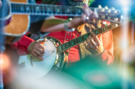 bluegrass: Banjo player in the country band
