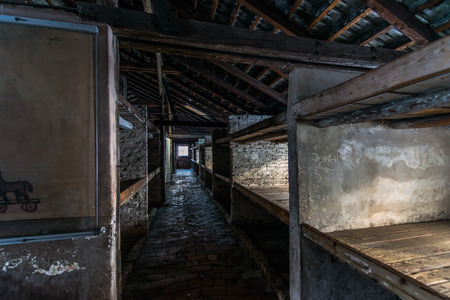 birkenau: Inside of a barracks of the Nazi concentration camp Auschwitz Birkenau
