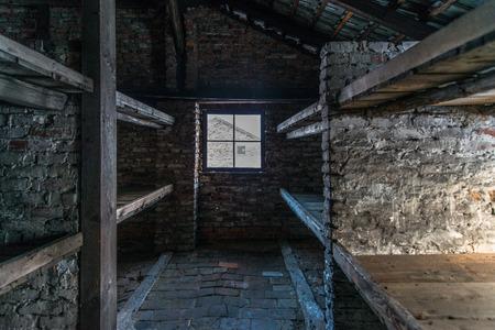 barracks: Inside of a barracks of the Nazi concentration camp Auschwitz Birkenau