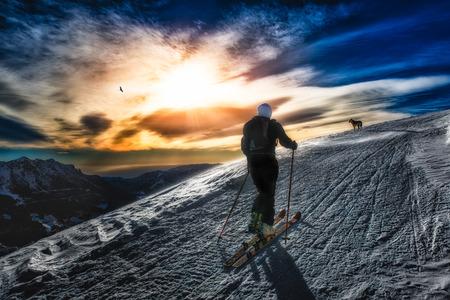 alpinism: Ski mountaineering silhouette Stock Photo