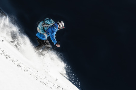 Skier in fresh snow