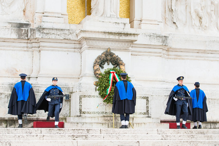 altar of fatherland: ROME, ITALY-March 24.2015: changing of the guard at the monument of the Unknown Soldier at the altar of the fatherland in Rome