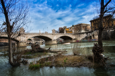 islets: Small islets, and plants in the river Tiber in Rome Stock Photo