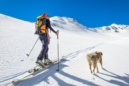 skiing: Girl makes ski mountaineering with dog. Stock Photo