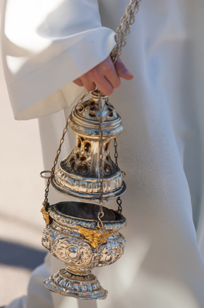 in particular: Particular of a christian censer Stock Photo