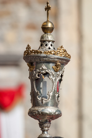 in particular: Particular of a silver candelabrum Stock Photo