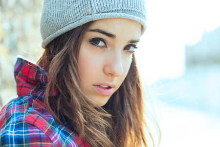 Portrait of teen girl with wool cap Archivio Fotografico