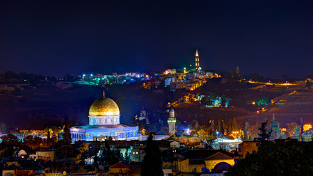 Jerusalem at night with the Alaqsa Mosque and the Mount of Olives photo
