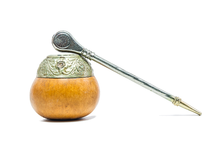 yerba mate: Calabash y el bombilla para la yerba mate Foto de archivo