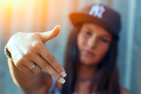 rapero: Hip hop rap niña Foto de archivo
