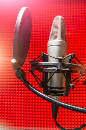 dubbing: recording studio microphone